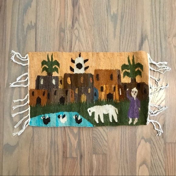 Other - Mexican Woven Wool Town Scene Purple Robe Tapestry